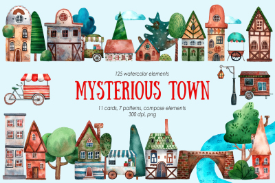 Mysterious Town - Watercolor Clip Art Set