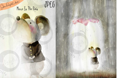 Mouse in the Rain   Whimsical Storybook Illustration   JPEG image