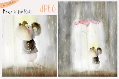 Mouse in the Rain | Whimsical Storybook Illustration | JPEG image