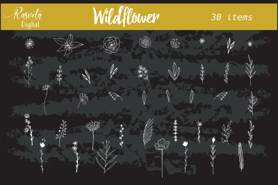 Wedding wildflower invitation clipart