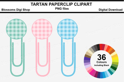 Tartan Paper Clips Clipart, multi colours, 36 PNG files