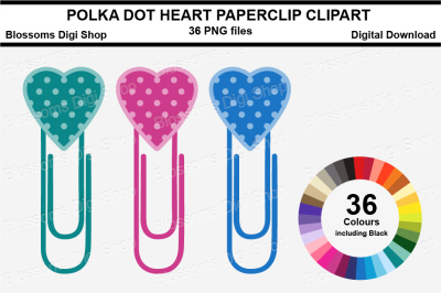 Polka Dot Heart Paper Clips Clipart, multi colours, 36 PNG files