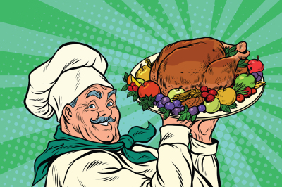 Chef with a dish roast Turkey