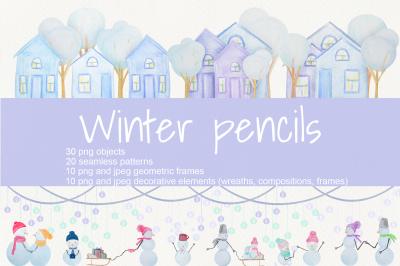 Winter pencils. Full set