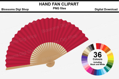 Hand Fan Clipart, multi colours, 36 PNG files