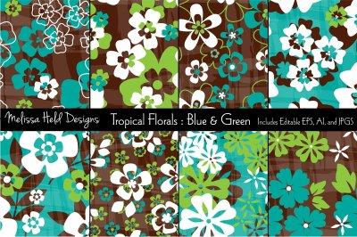 Blue & Green Tropical Flowers