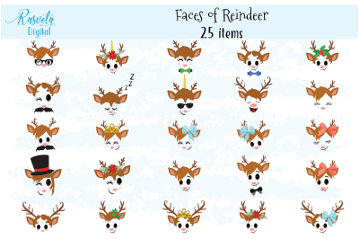 Reindeer Faces clip art set 2