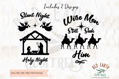 Christmas Nativity Scene and Wise men in SVG,PNG,EPS,DXF, PDF formats