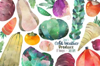 Watercolor Winter Veggie Clipart