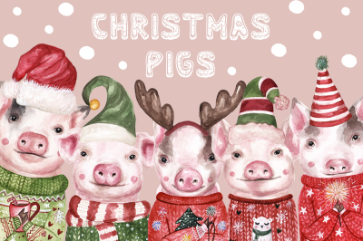 Christmas Watercolor Pigs 2019