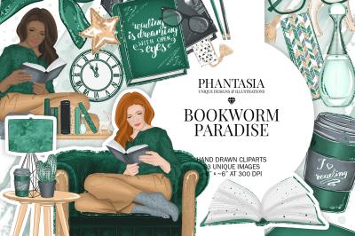 Bookworm Watercolor Fashion Clipart
