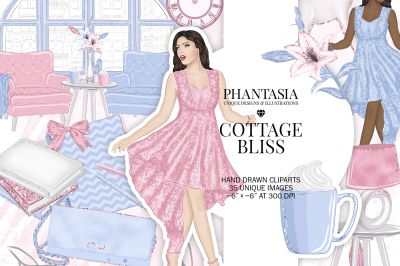 Pastel Fashion Watercolor Clipart