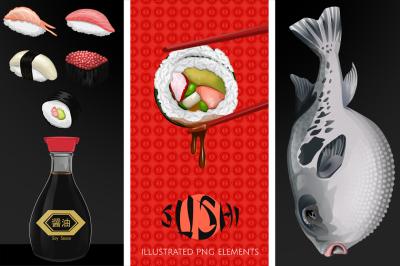 Japanese Sushi Illustrated Graphics