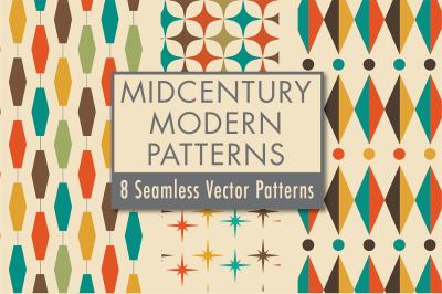 Mid-Century Modern Design Seamless Vector Patterns: Volume 2