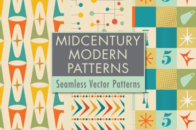 Mid-Century Modern Design Retro Seamless Vector Patterns: Volume 5