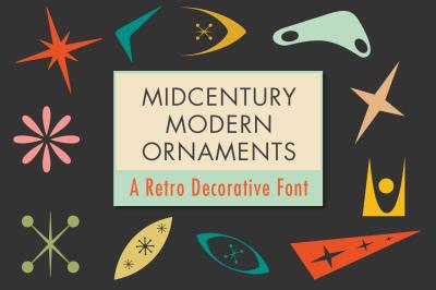 Mid-Century Modern Ornaments Decorative Dingbats Font