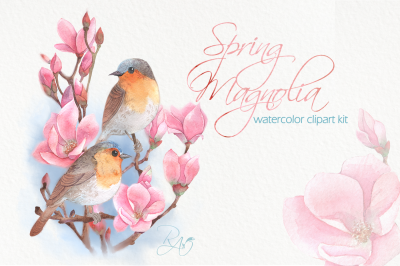 Watercolor birds on a pink magnolia branch clipart kit