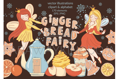 GINGERBREAD FAIRY Cartoon Christmas Vector Illustration Set for Print