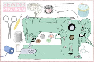 Cartoon Sewing Bundle | 11 illustrations | PNG/JPEG Clip Art