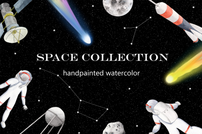 Space, astronaut, spaceship, starry sky, satellites Watercolor clipart