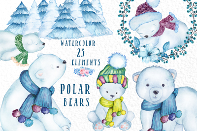 Watercolor Winter Animals, POLAR BEARS CLIPART, Baby Bears
