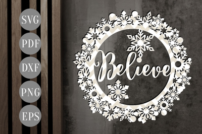 Believe Christmas Bauble SVG, Xmas Ornament Papercut Template, DXF PDF