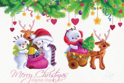 Cute Snowmans and Holiday decorChristmas clipart kit