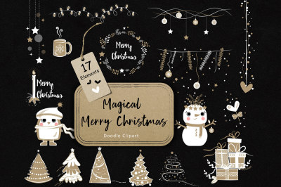 Magical Merry Christmas Doodle Clipart 02