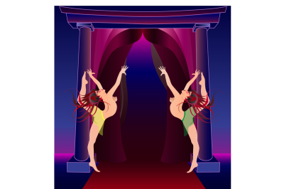 Dancing girls at the entrance to the stage, illustration two files, a JPEG 300 dpi and EPS 10, in any desired size without loss of quality.