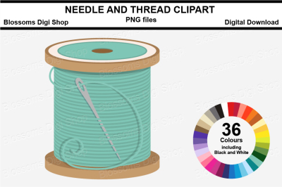 Needle and Thread Clipart, multi colours, 36 PNG files