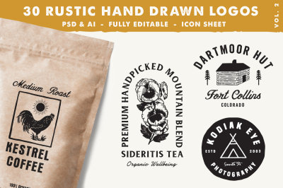 30 Rustic Hand Drawn Logos Vol 2