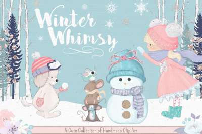 Winter Whimsy Cute Clipart Collection