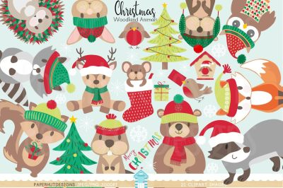 Christmas Woodland Animals Clipart