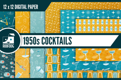 1950s cocktails mid-century digital paper