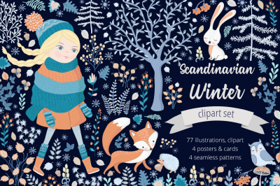 Scandinavian Winter Illustration Set