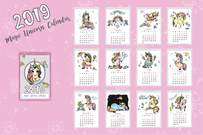 Cute Unicorns- calendar 2019