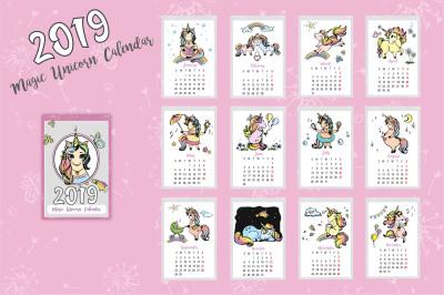 Cute Unicorns- calendar 2019