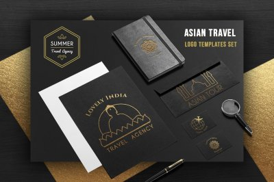 Asian travel logo templates set