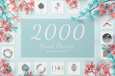 2000 Hand Drawn Elements
