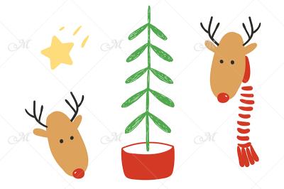 Oh deer! Two cute deers and Christmas tree