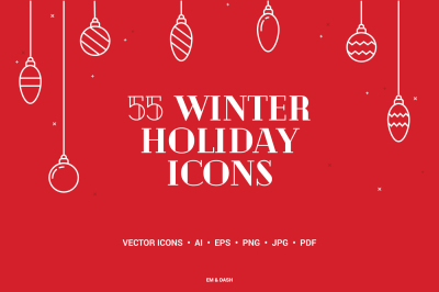55 Winter Holiday Icons
