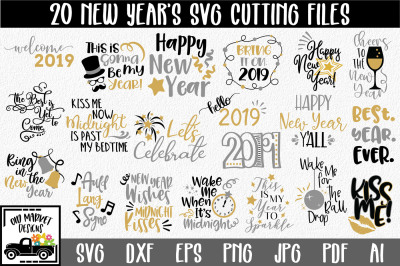 New Year's SVG Bundle with 20 SVG Cut Files - PNG DXF EPS