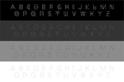 Set of modern english alphabets