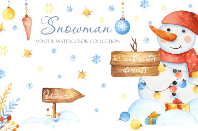 Snowman. Winter watercolor collection.