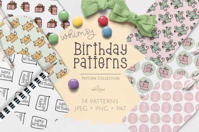 Whimsical birthday patterns and papers