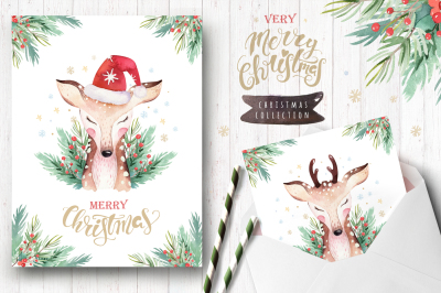 Watercolor Christmas cards with cute deer.
