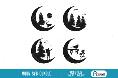 Moon Silhouette svg, Moon svg, Crescent Moon svg, Tree Silhouette svg