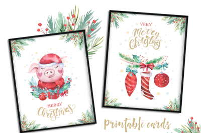 Watercolor Christmas cards with cute pigs
