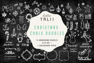 CHRISTMAS CHALK DOODLES CLIP ART