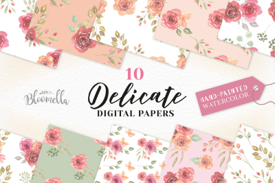 Delicate Seamless Patterns Rose Digital Papers Peach Coral Flowers Set